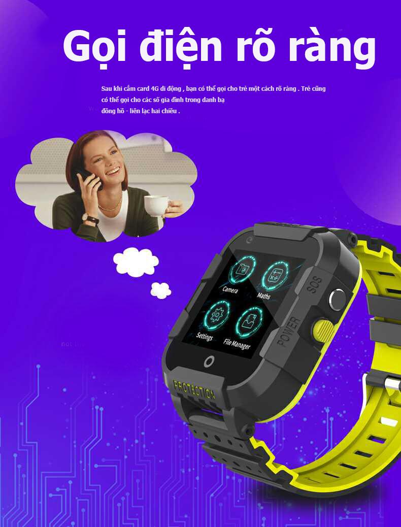 Đồng hồ thông minh trẻ em định vị GPS gọi Video Call chịu nước 4G Wonlex KT12
